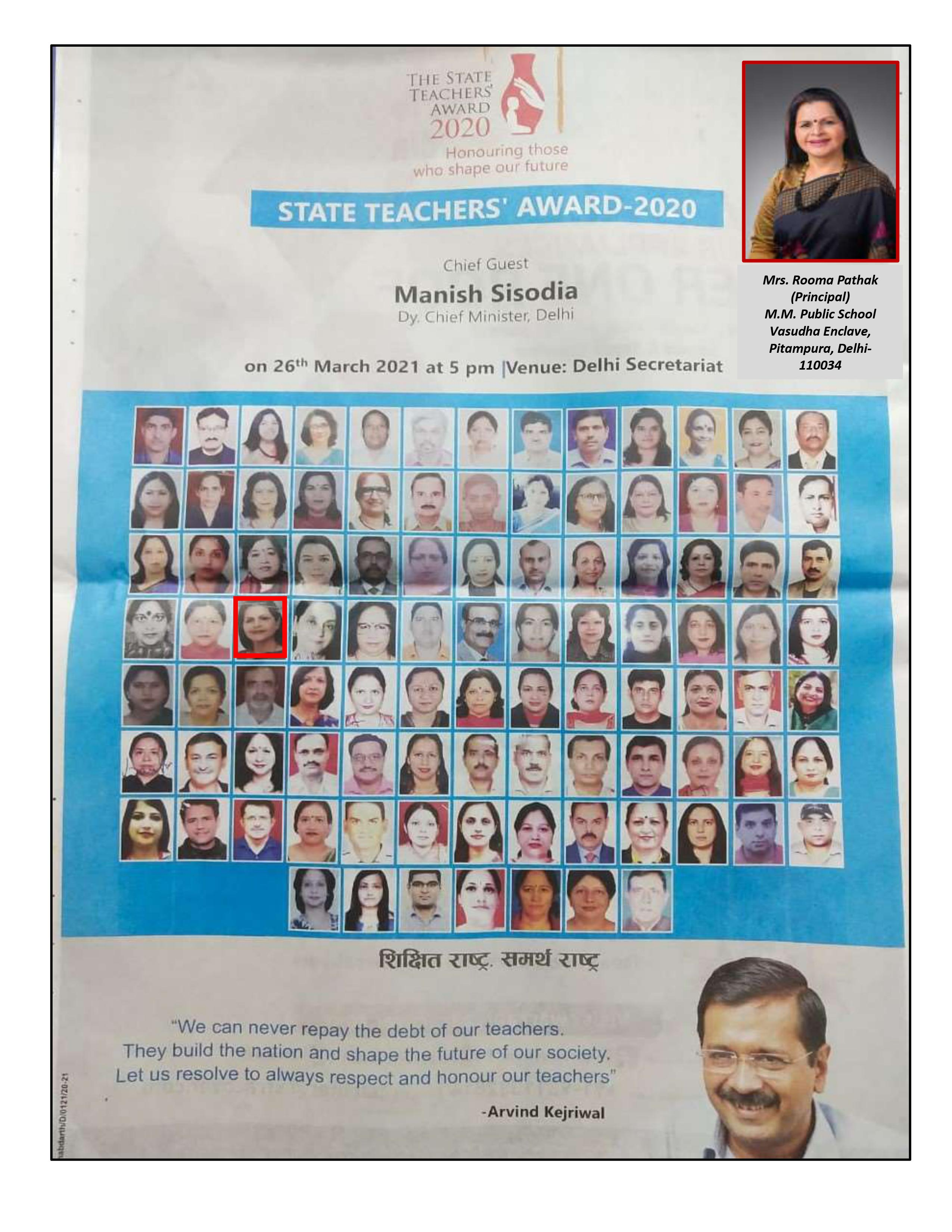 Being Honoured with THE STATE TEACHERS' AWARD 2020