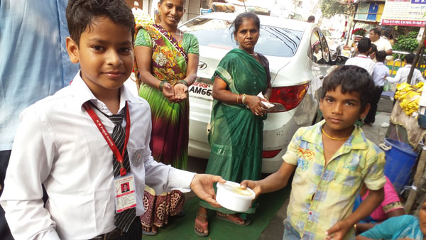 Temple visit-food donation